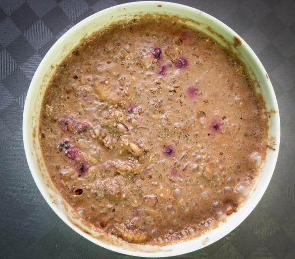 Ett alternativ till gröten är chiapudding som jag gör av en halv skål yoghurt/A-fil där jag lägger 30 gram chiafrön och 15 gram rostat havre. Jag fyller på med frukt, min fettranson som jag brukar ta till gröten och extra fibrer i form av psylliumfrön eller okrossade linfrö. Sist strör jag i kakaopulver eller någon krydda. Jag rör ihop allt och tillsätter lite vatten. Sen får detta stå i kylskåpet över natten innan jag äter det på morgonen.